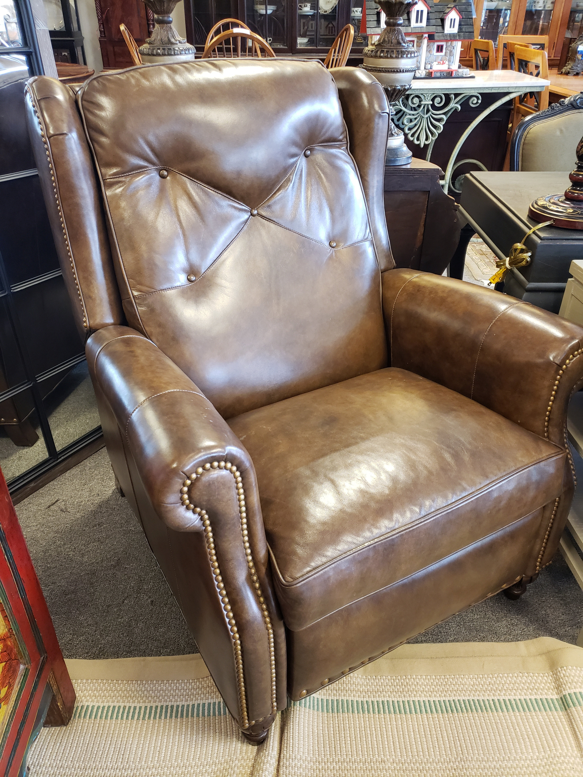 0fd24f91936 Hancock & Moore Brown Leather Recliner with Nail Head Trim